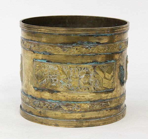 Chinese Cylindrical Copper Brush Pot