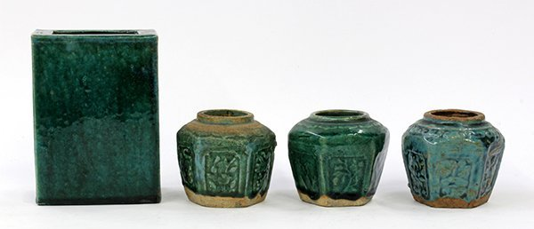Chinese Glazed Jars and Pillow