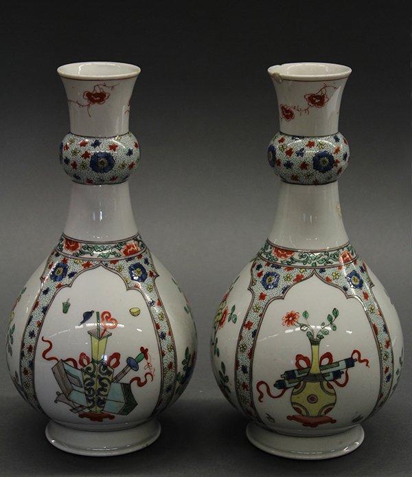 Continental Enameled Vases