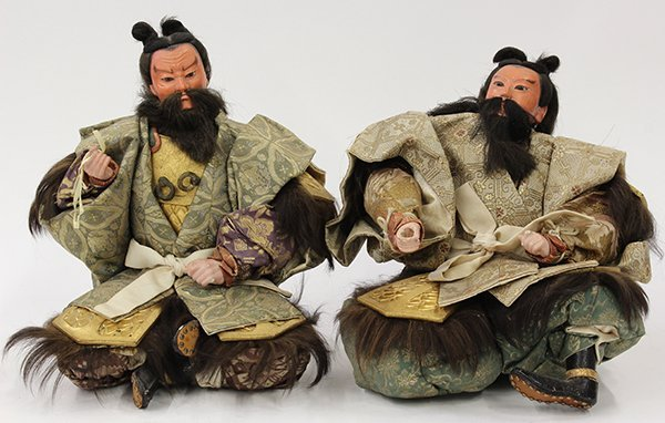 Pair of Japanese Musha/Warrior Dolls