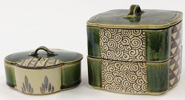 Japanese Oribe-style Ceramic Boxes