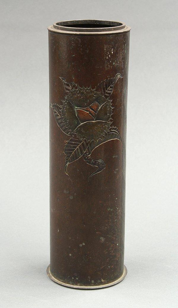 Japanese Cylindrical Bronze Vase, Chestnut