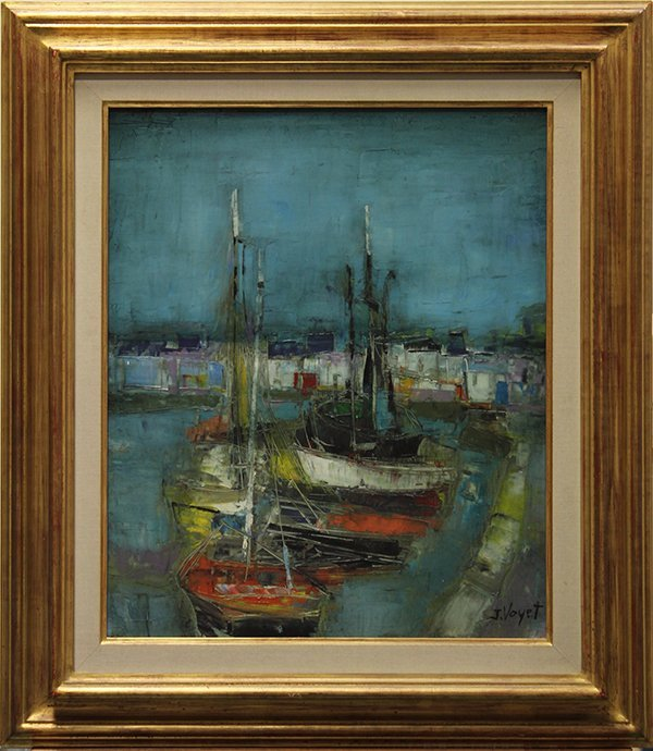 Painting, Jacques Voyet, Ships Docked in a Harbour