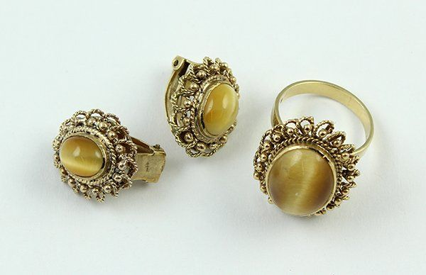 Tiger eye ring earring suite yellow gold