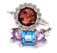 Ganet blue topaz amethyst diamond white gold rings