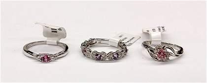 Pink sapphire amethyst white gold diamond rings