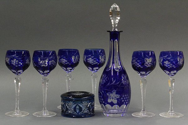Bohemian cobalt cut to clear decanter set