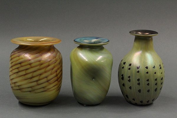 Mark Cantor art glass vases in the Arts and Crafts