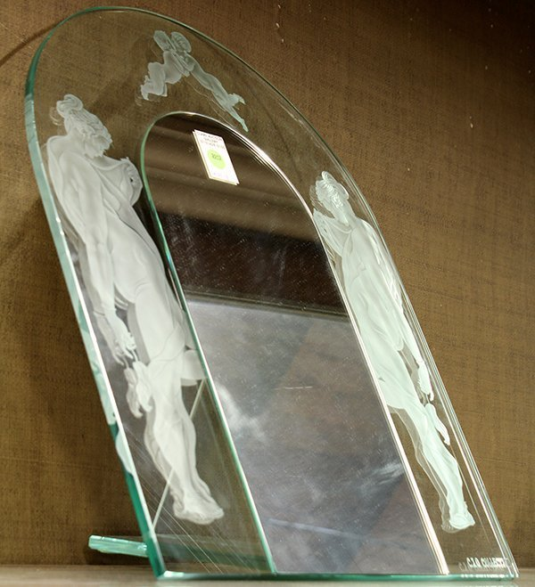 Art Nouveau style frosted and cut figural mirror