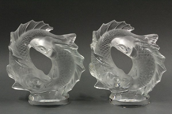 Pair of Lalique, France, 'Deux Poissons' crystal