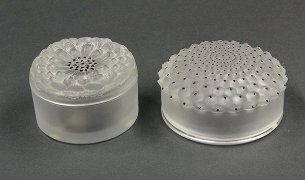 Lalique, France, covered powder boxes