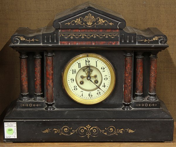 Continental Victorian slate and marble mantle clock