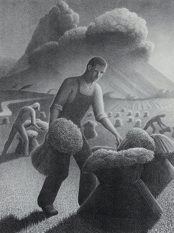 Lithograph, Grant Wood, Approaching Storm, 1940