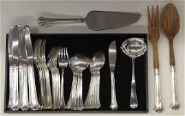 American sterling silver flatware service for six