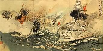 Japanese Woodblock Ogata Gekko Triptych Meiji