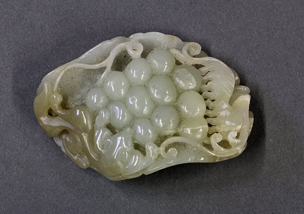 Chinese Jade Carving, Grape/Squirrel