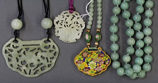 Chinese Hardstone Plaques and Necklaces
