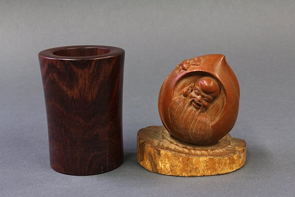 Chinese Wood Peach and Brush Pot