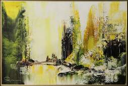 Painting, Abstract Landscape in Yellow and Green