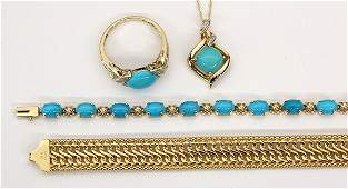 Collection of turquoise, diamond, and gold jewelry