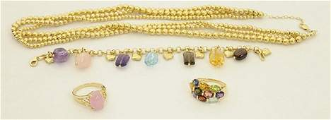 Collection of gemstone and gold jewelry