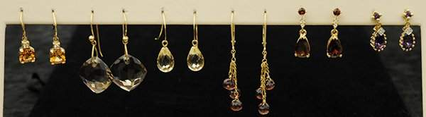 Colored stone ear pendants yellow gold