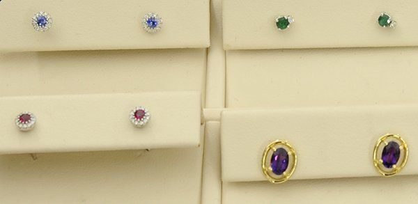(Lot of 4) Pairs of colored stone stud earrings