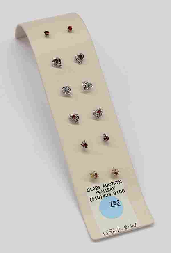 (Lot of 6) Pairs of colored stone and or diamond stud