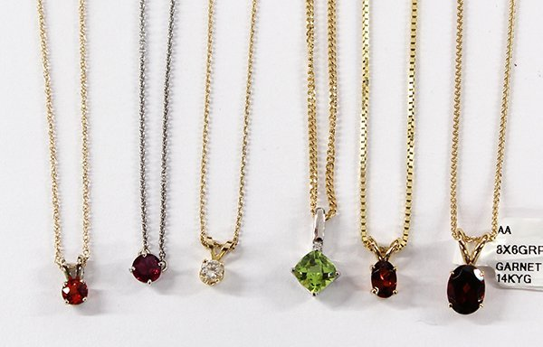 (Lot of 6) Solitaire colored stone pendant necklaces