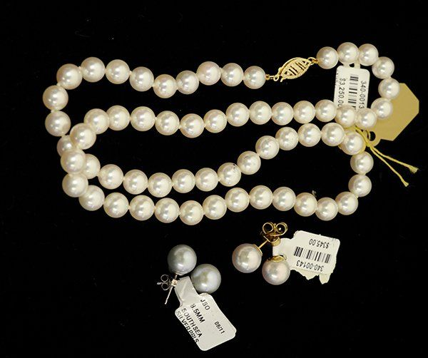 Collection of cultured pearl and 14k gold jewelry