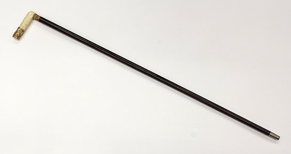Ivory and gold plate walking stick