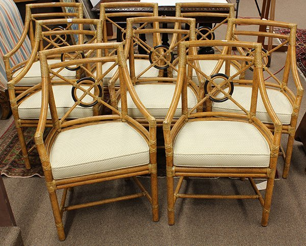 lot of 8 McGuire faux bamboo dining chairs