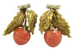 Buccellati coral yellow white  gold cherry clip