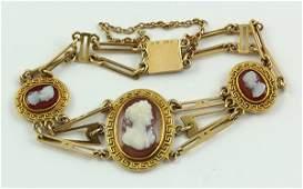 Victorian hardstone cameo yellow gold bracelet