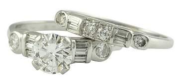 Diamond platinum wedding ring suite, circa 1950