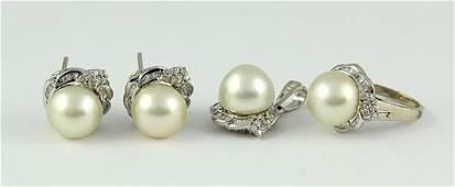 South Sea cultured pearl diamond white gold jewelry