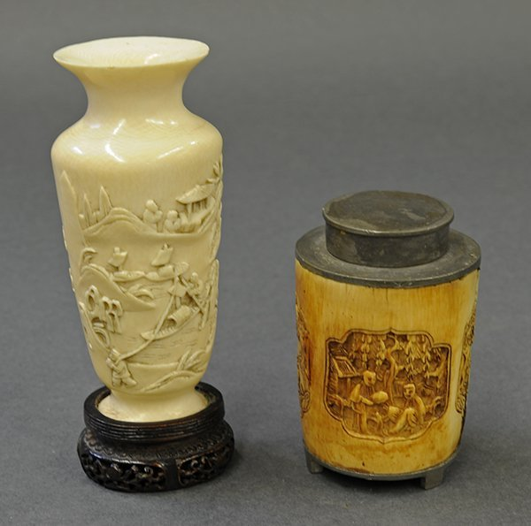 Two Chinese Ivory Vase and Box