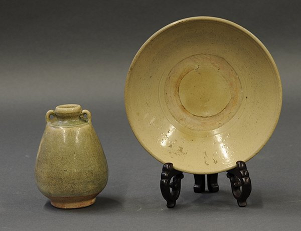 Asian Celadon Ceramic Jar and Bowl