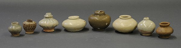Asian Celadon Pottery Jarlets