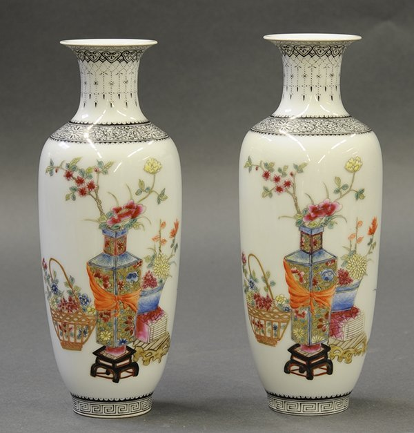 Chinese Porcelain Vases, Flowers