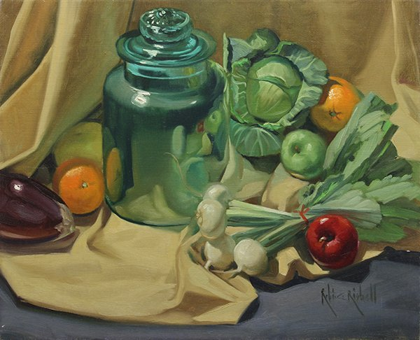 Painting, Robert Rishell, Still Life with Glass Jar and