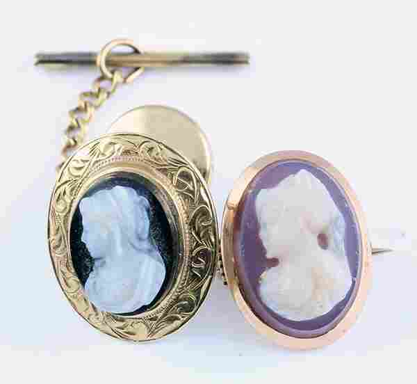 (lot of 2) Collection of Victorian hardstone cameo