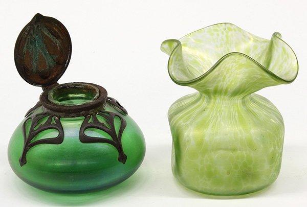 (lot of 2) Art Nouveau Loetz inkwell