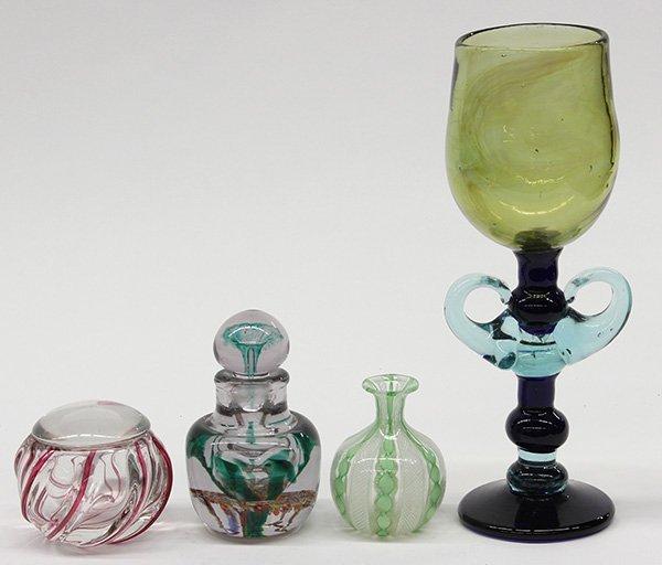 (lot of 4) Art glass group