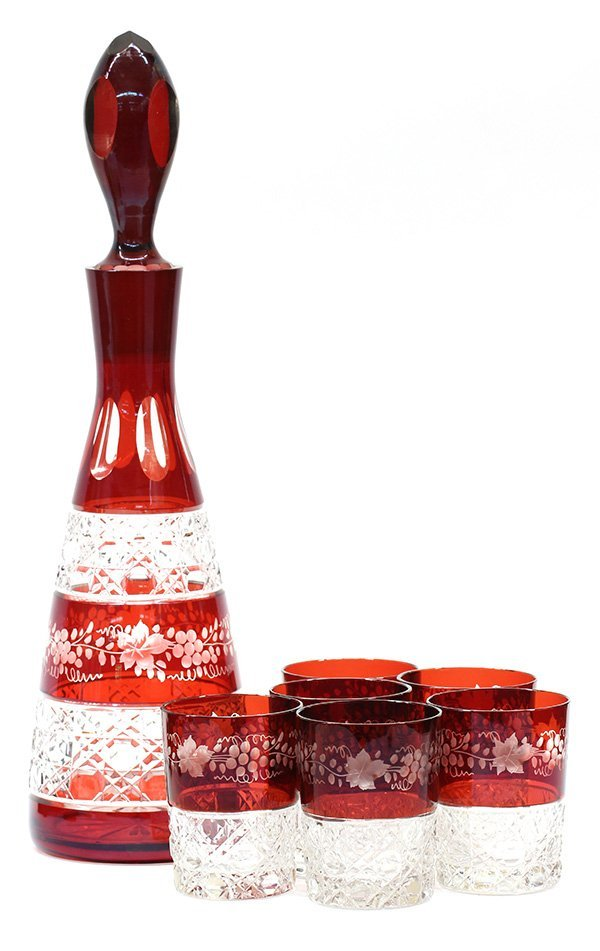 Continental etched cranberry glass decanter and