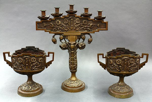 Renaissance style patinated bronze candelabra with