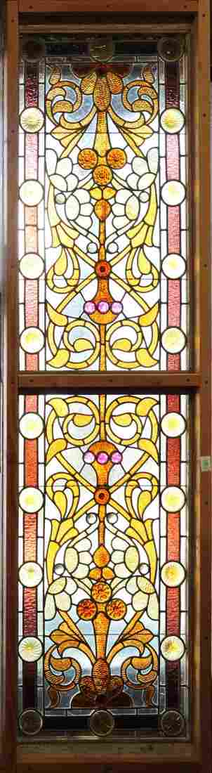 American Victorian leaded glass panel