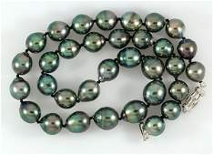 Black South Sea cultured pearl semi baroque necklace