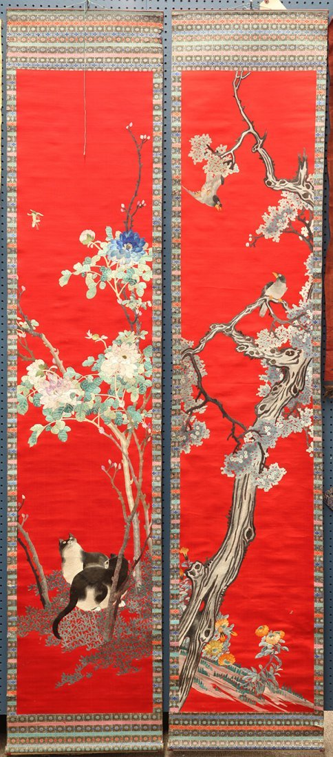 Two Chinese Embroidered Panels, Cat/Bird