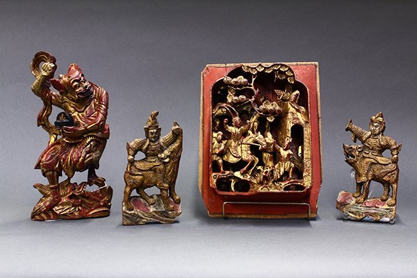 Chinese Wood  Lacquer/Gilt Carvings